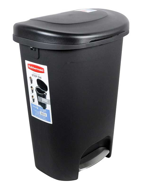 Rubbermaid 1843029 Step On Wastebasket, 13 Gallon, Metal Accent Black