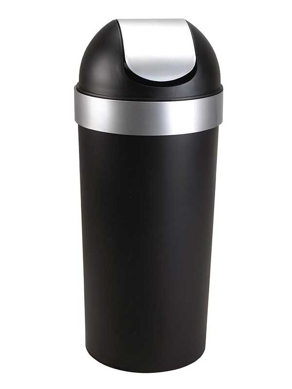 Umbra Venti 16 Gallon Swing Top Trash Can, Black/Nickel