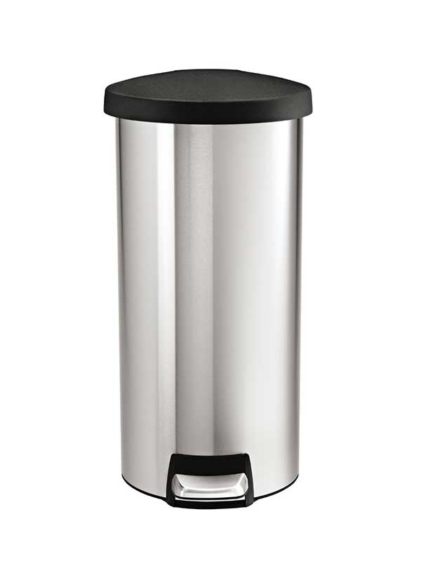 simplehuman round step trash can stainless steel plastic lid 30 l 8 gal