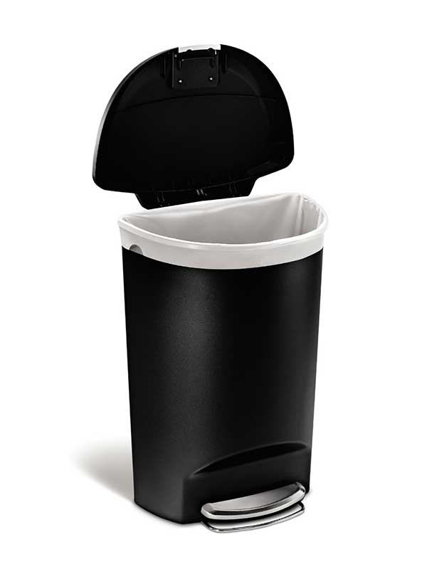 simplehuman semiround step trash can black plastic 50 l 13 gal